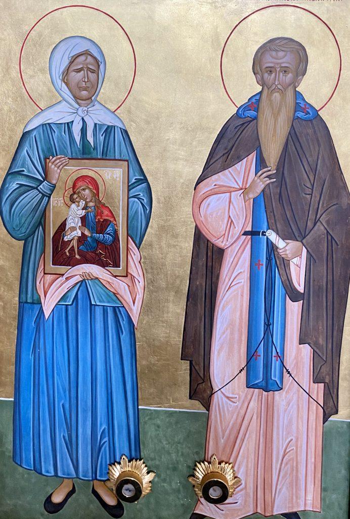 Икона блаженной Матроны и преподобного Ферапонта Можайского.